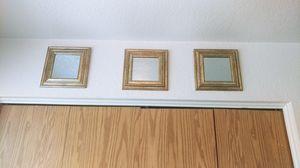3 gold frame mirrored wall decor for Sale in Salt Lake City, UT