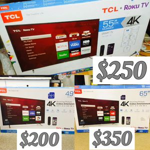 """TCL Roku 4K TV party 50"""" $200 55"""" $250 65"""" $350 for Sale in Norwalk, CA"""