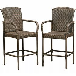 2 PCS Bar Stool Rattan Dining Chair Armrest Patio Furniture for Sale in Scottsdale,  AZ