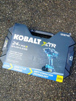 """KOBALT 24 Volt Brushless XTR 1/2"""" High Torque Impact Wrench Kit With Hard Case for Sale in Tacoma, WA"""