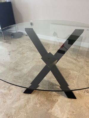 54' Round Glass Dining Table with Espresso color base for Sale in Miami, FL