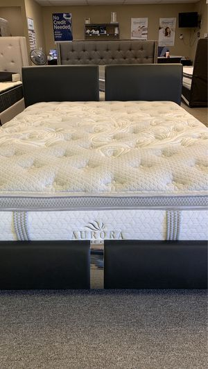 Queen size auroral pillowtop mattress new with bed free delivery for Sale in Irving, TX