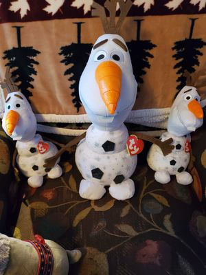 New Frozen 2 TY sparkle edition. Big and small Olaf for Sale in San Dimas, CA