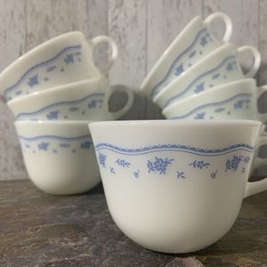 Vintage Pyrex Morning Blue, Coffee Tea Mugs, Set of 8 for Sale in Rushville, OH