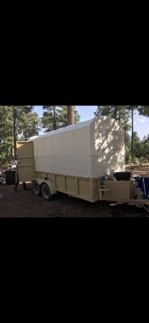 Custom toy hauler open trailer with military canvas tent for Sale in Chandler, AZ