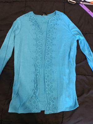 Ladies m medium blue faux jacket top for Sale in Taylors, SC