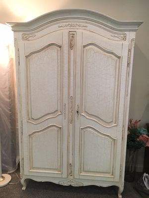 Exquisite hard wood queen bedroom frame and armoire for Sale in Stamford, CT