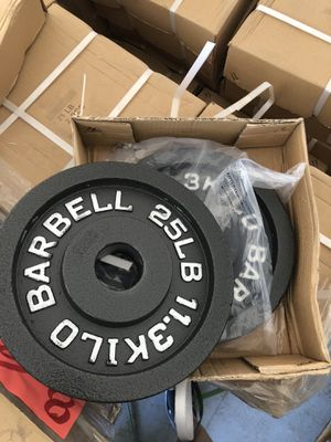 "NEW 25lb olympic iron plates 2"" PAIR weights home gym for Sale in Fullerton, CA"