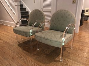 2 Very Cool Fabric and Lucite Chairs for Sale in Oakhurst, NJ