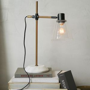 WEST-ELM ANTIQUE FACTORY TASK LAMP WITH MARBLE BRASS BASE BUBBLE GLASS for Sale in New York, NY