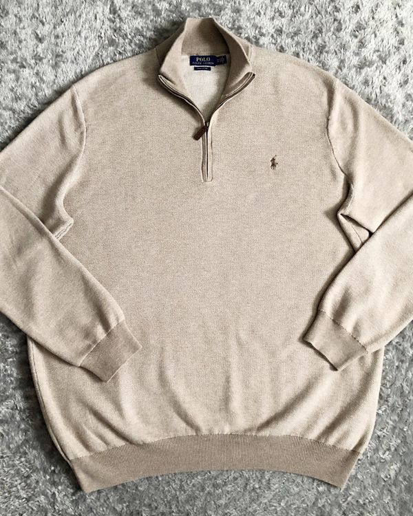 New! Men's Polo RL Pima Cotten half-zip ret $125 size XXL. Ralph Lauren Polo half-zip Tan color with brown logo on chest. Brand new without tag. Very