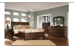 Fairly new bedroom set comes with sleigh bed dresser ottoman mirror night stand $2,000 for Sale in Salt Lake City, UT