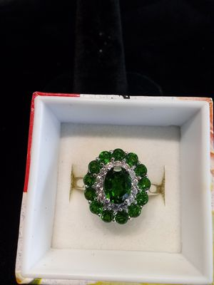 Silver green/cz ring for Sale in Lake Oswego, OR