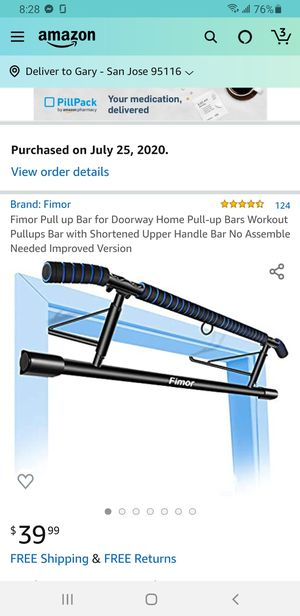 Fimor Pull up Bar for Doorway Home Pull-up Bars Workout Pullups Bar with Shortened Upper Handle Bar No Assemble for Sale in San Jose, CA