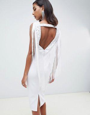 Embellished Scuba Fringe Mid Bodycon Dress for Sale in Houston, TX