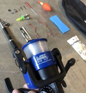 Fishing Pole - Reel - Rod Combo with Hooks, Weights, Clips, bobbers, Baithooks, and Carrying case for Sale in Fullerton, CA