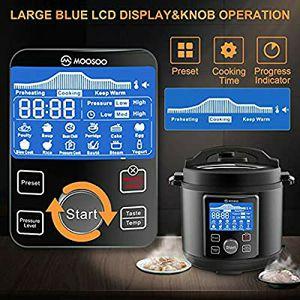 MOOSOO 12-in-1 Electric Pressure Cooker, Instant Digital Pressure Pot,6 Quart,Stain-Resistant Slow Cooker,Steamer, Sauté,Rice Cooker,Yogurt Maker, Cak for Sale in Arlington Heights, IL