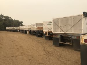 Utility and Fruehauf Flatbed Doubles Trailers with Juice Boxes 13 sets available for Sale in Reedley, CA
