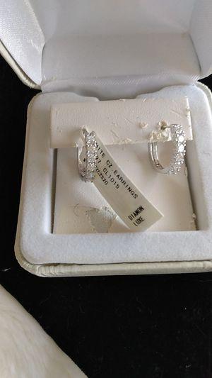 Sterling Silver CZ Diamonds Earrings for Sale in Winfield, IL
