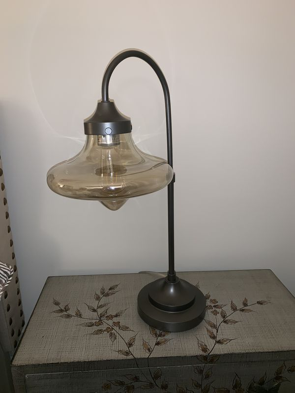 Mid Century Glass Arc Bronze table lamps (set of 2)