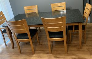 Granite Kitchen Table Includes 6 chairs for Sale in Normal, IL