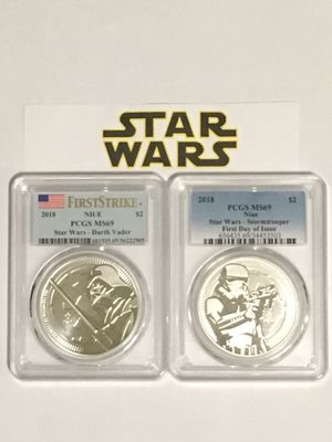 2 silver coins, 1 oz silver each, Star Wars, Darth Vader and Stormtrooper, graded MS69 each, both coins $60 for Sale in Alhambra, CA