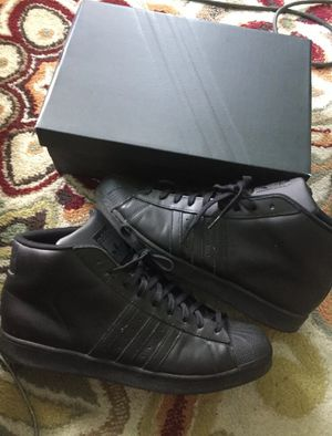 ADIDAS Superstar Pro Model Black Leather Shell Toe Hi Top Shoes Men size 15 RARE DS for Sale in Cleveland Heights, OH