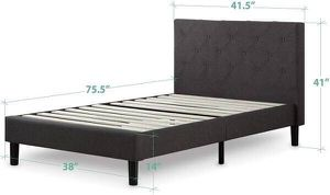 "condition: new make / manufacturer: Zinus model name / number: FDPB-T size / dimensions: 75.5"" x 38"" x 39.5"" TWIN-Zinus Upholstered Platform Bed for Sale in Henderson, NV"