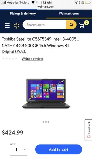 toshiba laptop for Sale in Riverside, CA
