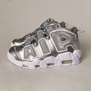 Nike Air More Uptempo Metallic Silver Gray Shoes New Women's Sz 7 for Sale in Las Vegas, NV