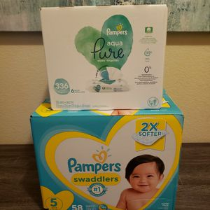Pampers Diapers Size 5 & Pampers Baby Wipes for Sale in Bonita, CA