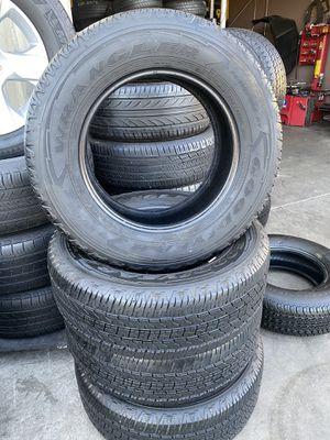Set tires good condition good tread 265 65 17 Goodyear wrangler. 9520. C ave hesperia el jefe tire shop open Sundays for Sale in Hesperia, CA