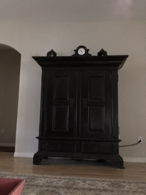 HEAVY oak tv cabinet, holes in back & power strip bolted down for easy plug in/out shelf for DVR and 2 drawers underneath for Sale in Las Vegas, NV