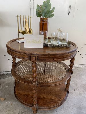 Mid century cane end table/ bar cart for Sale in Whittier, CA