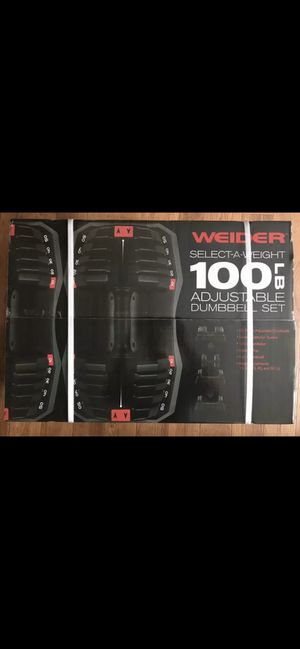 Weider 100lb Adjustable Dumbbell Set (50lb each) Select-a-Weight w/ Storage Tray for Sale in Fresno, CA
