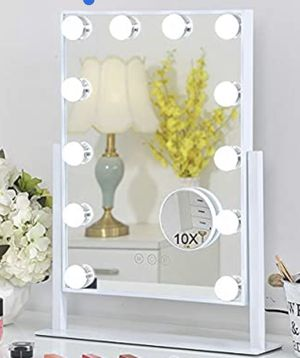 FENCHILIN Lighted Makeup Mirror Hollywood Mirror Vanity Makeup Mirror with Light Smart Touch Control 3Colors Dimmable Light Detachable 10X Magnificat for Sale in West Los Angeles, CA