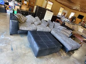 Sectional couch with ottoman for Sale in Julian, NC