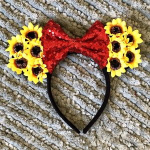 Minnie Mouse Yellow Sunflower 🌻 & Red Sequin Bow Headband Ears for Sale in Long Beach, CA