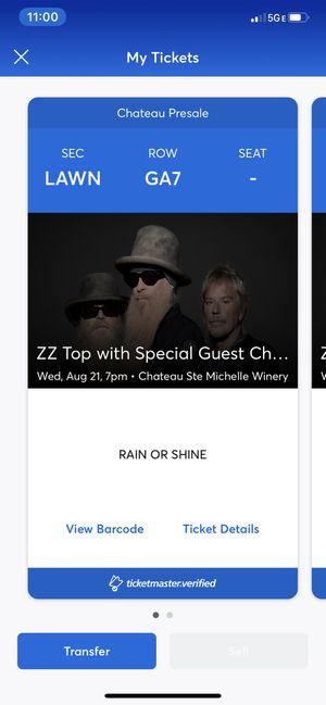 ZZ Top Chateau Ste. Michelle - 2 GA Tickets for Sale in Newcastle, WA