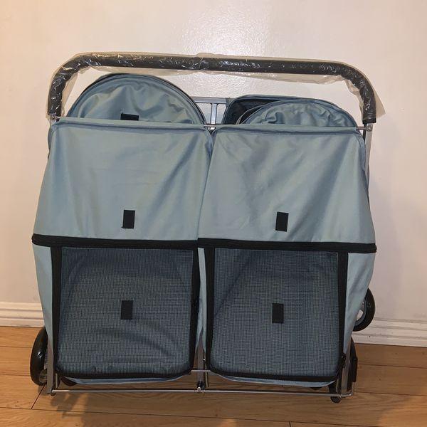 Paws & Pals Pet Double Foldable Pet Stroller, 4 Wheel