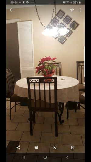 Kitchen Table Ashley Furniture Glass Round with Six Chairs Metal for Sale in Union, NJ