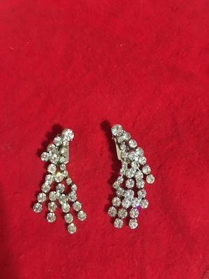 "Vintage Screw-on Rhinestone Dangling Earrings Kramer of New York.. Stunning 1.5"" long for Sale in Parma Heights, OH"