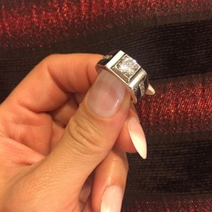 Unisex Stamped 925 Sterling Silver Square Cut Diamond Ring- Code Lq10 for Sale in Seattle, WA