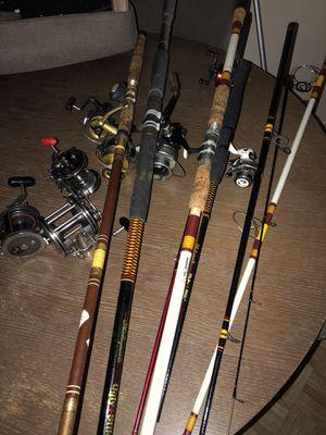 Equipo de pescar cañas y carreteles, $60 all for Sale in Houston, TX