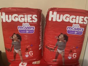 2 bags Huggies little movers baby diapers size 6 16 ct each for Sale in Austin, TX