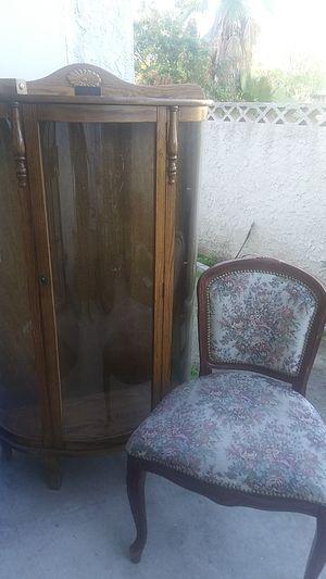 Cherub cabinet abd antique chair for Sale in Anaheim, CA