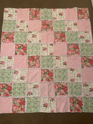 """Beautiful baby girl rag quilt - 48""""x54"""" for Sale in Chippewa Falls, WI"""
