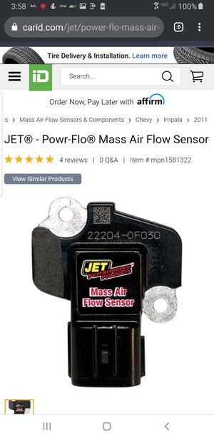 JET Mass Air Flow Sensor for 2006 - 2011 Chevy Impala for Sale in Durham, NC