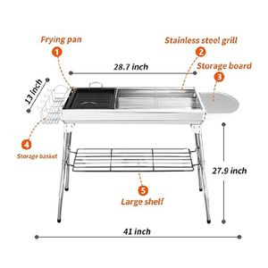 Lightweight charcoal BBQ portable BBQ stainless steel foldable barbecue grill [with Barbeque Air Blower], suitable for outdoor campers, barbecue lover for Sale in Glendale, AZ