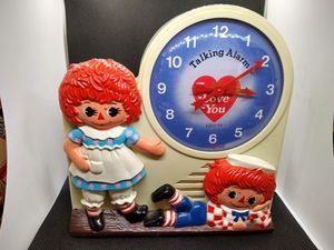Vintage talking Raggedy Ann and Andy alarm clock for Sale in Overland Park, KS
